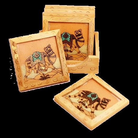 Подставки под кружки квадратные с держателем, дерево/мрамор, роспись камнем