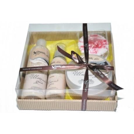 Набор подарочный для тела и душа ШОКОЛАД-КРИМ (пенка, молочко, скрабби, массорти) TM ChocoLatte